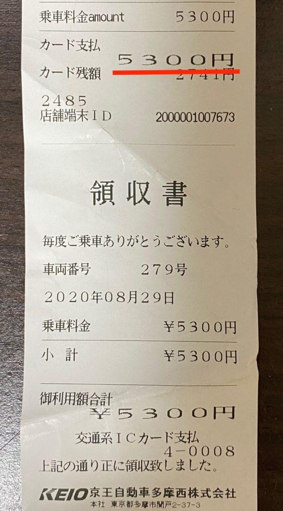 武蔵五日市駅〜御嶽駅 タクシー代¥5,300